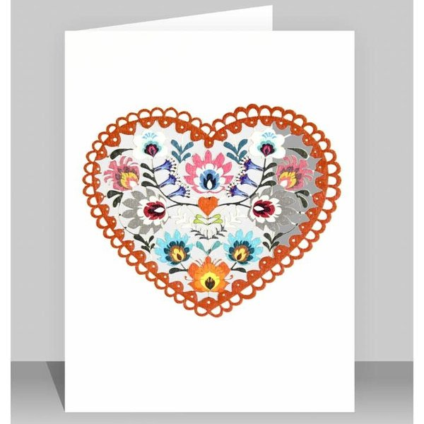 Folk art heart Laser cut card