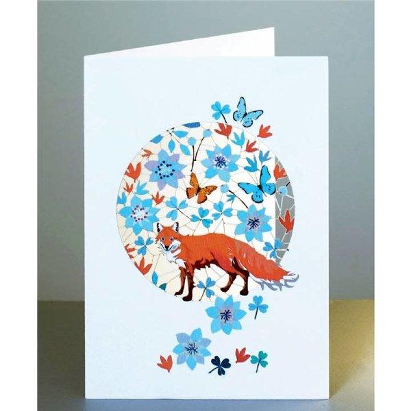 Lazer-Schnittkarte mit Fuchs und Schmetterlingen