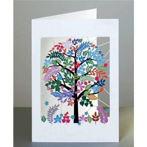 Forever Cards Tarjeta de corte láser de árbol multicolor