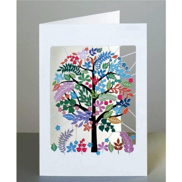 Tarjeta de corte láser de árbol multicolor