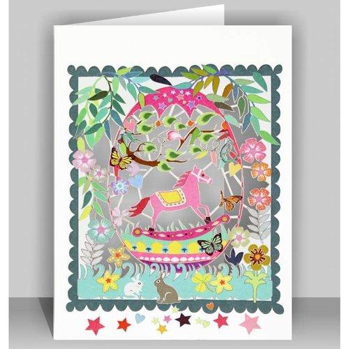 Forever Cards Rosa Schaukelpferd Laser geschnittene Karte