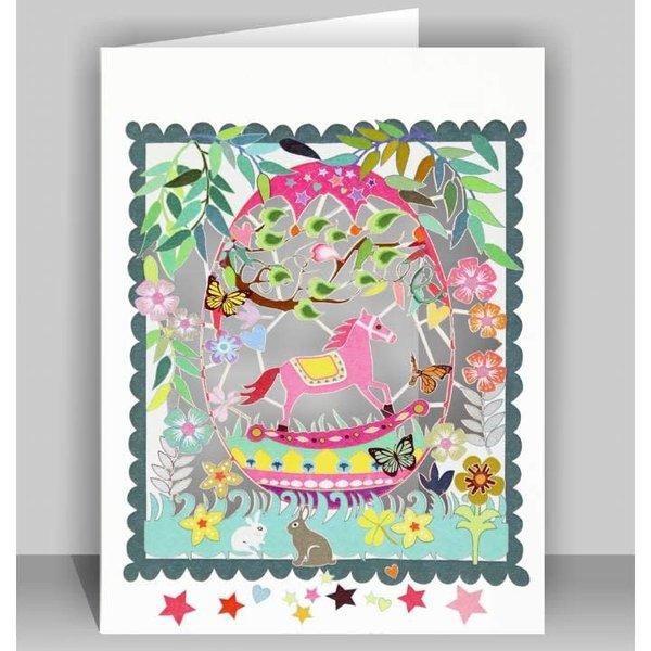 Rosa Schaukelpferd Lasergeschnittene Karte