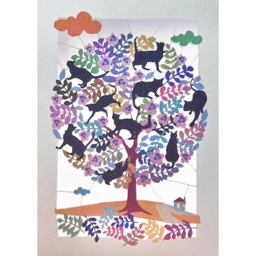 Forever Cards Tree full of cats Lazer cut card