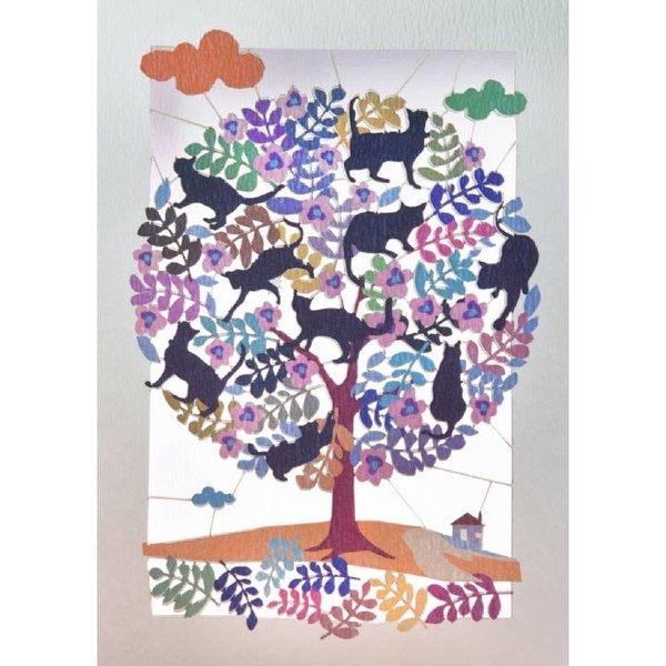 Árbol lleno de gatos Lazer corte tarjeta