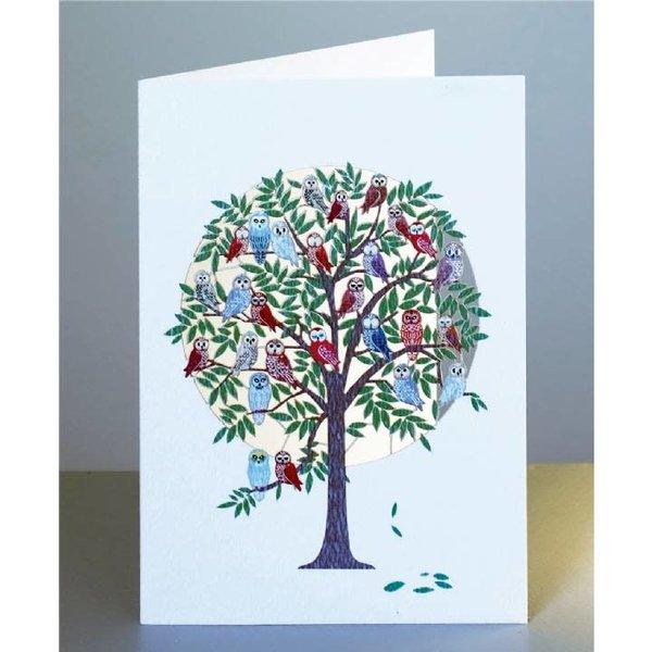 Árbol lleno de búhos tarjeta de corte láser