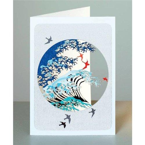 Forever Cards Olas y pájaros en un círculo.