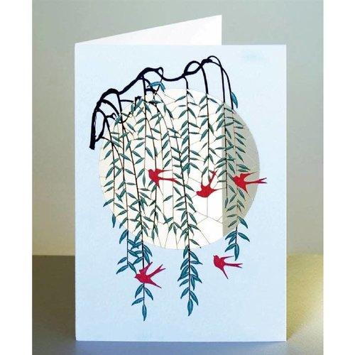 Forever Cards Tarjeta de corte laser Sauce y golondrinas rojas
