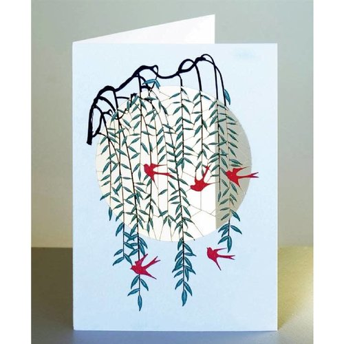 Forever Cards Willow and Red Swallows Lasergeschnittene Karte