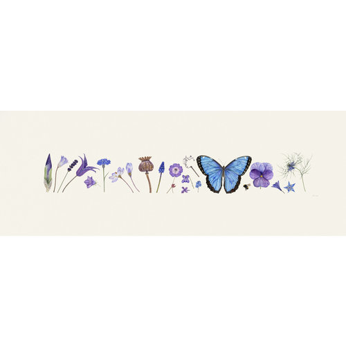 Rachel Pedder-Smith Blue Flora and Bee Line print - edition of 200 with mount  011