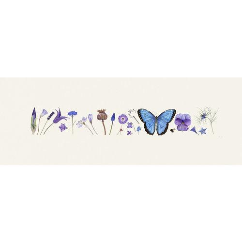 Rachel Pedder-Smith Blue Flora und Bee Line Print - Auflage 200 mit Montierung 011