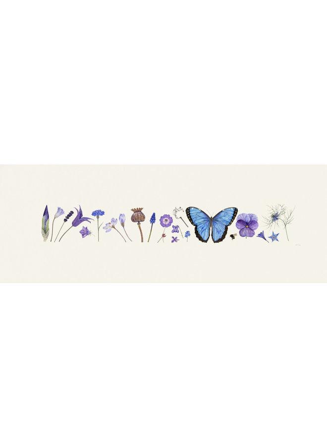 Blue Flora and Bee Line Print - Auflage 200 mit Passepartout 011