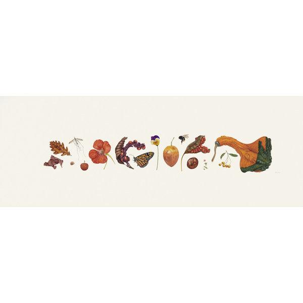 Orange Flora und Bee Line Print - Auflage 200 mit Montierung 013