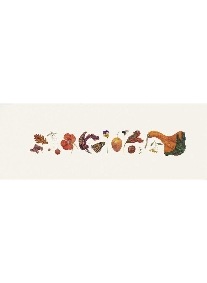 Orange Flora und Bee Line Print - Auflage 200 mit Passepartout 013