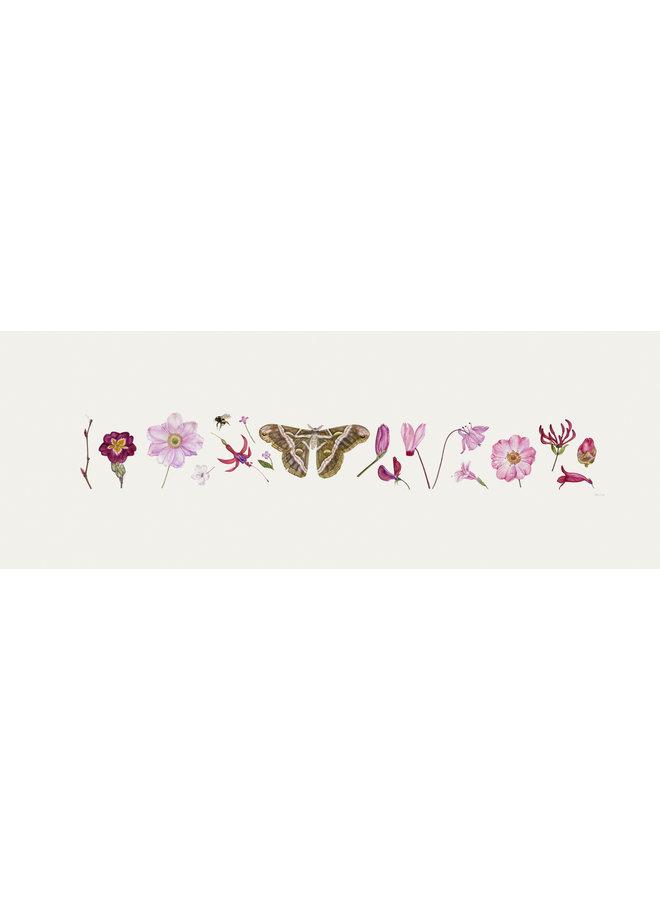 Pink Flora and Bee Line Print - Auflage 200 mit Passepartout 014