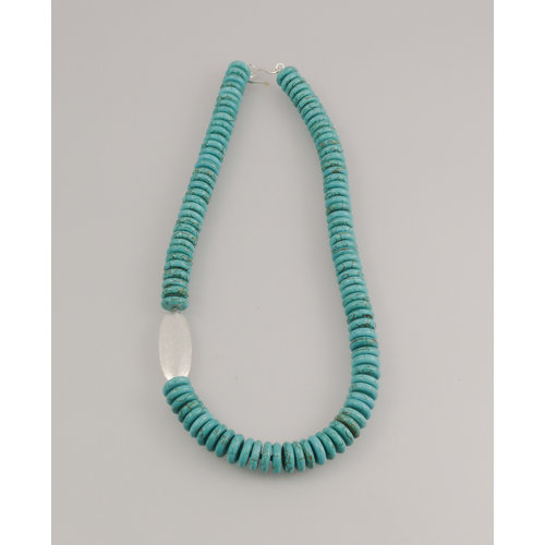 Melissa James Turquoise IV with silver pod Necklace 78