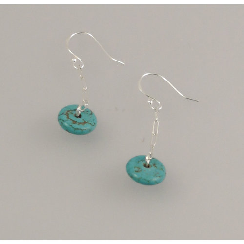 Melissa James Turquoise  heishi silver hook Earrings 75