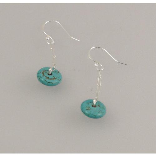 Melissa James Turquoise silver hook Earrings 75