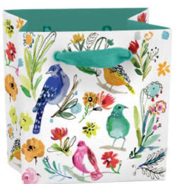 Bird Life mini bag - ribbon handle and label