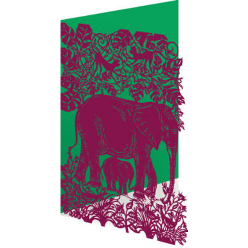 Roger La  Borde Elephants Laser Card