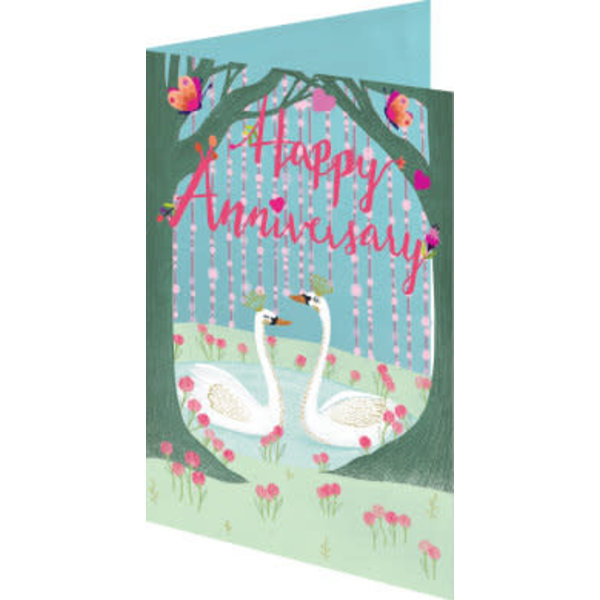 Happy Anniversary with Swans Laser Card