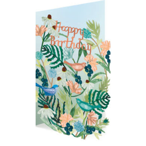 Roger La  Borde Happy Birthday Birds and Flowers Laser Card