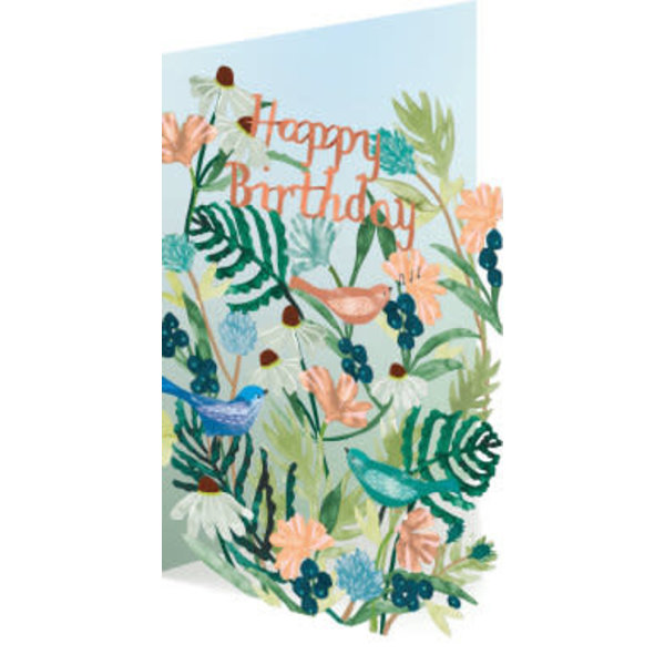 Happy Birthday Birds and Flowers Laser Card
