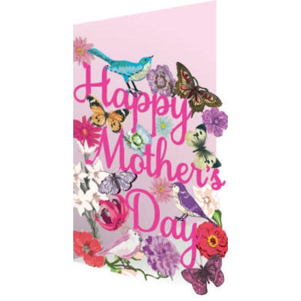 Día de la madre, flora y fauna, tarjeta láser.