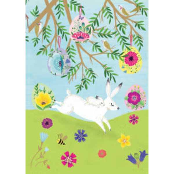 Spring White Hares Laser Card