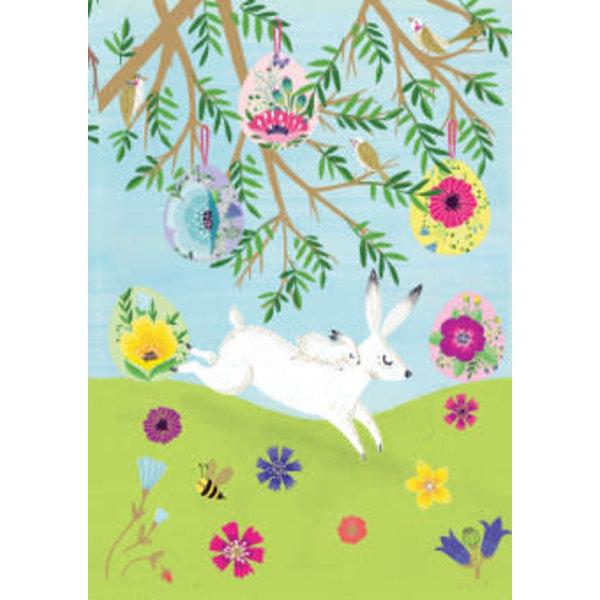 Tarjeta Láser Blanca Liebres De Primavera