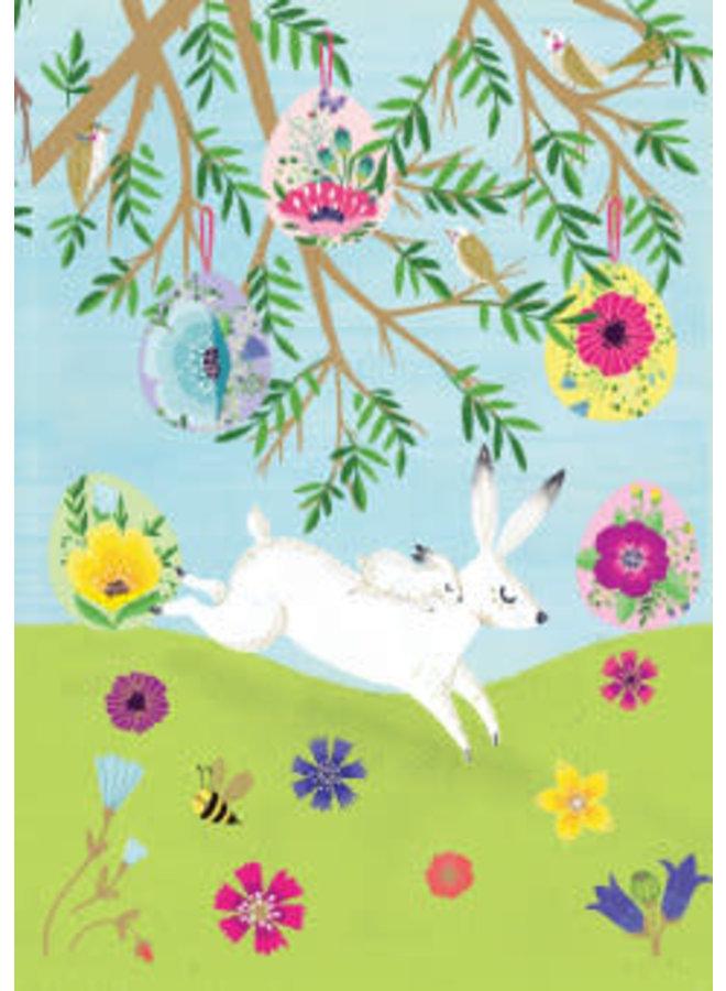 Frühling weiße Hasen-Laserkarte