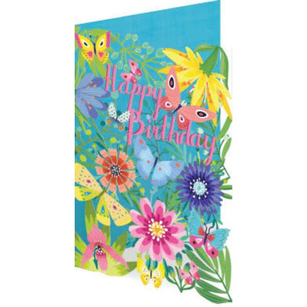 Summer Birthday Garden Laser Card