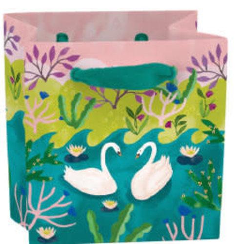 Roger La  Borde Swans mini bag - ribbon handle and label