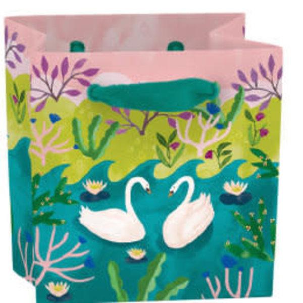 Swans mini bag - ribbon handle and label
