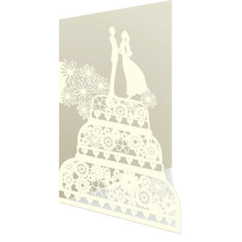 Roger La  Borde Wedding couple on cake Laser Card