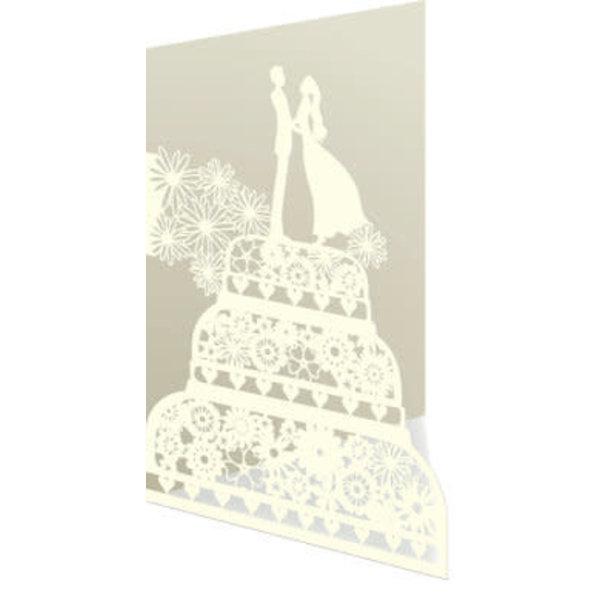 Wedding couple on cake Laser Card