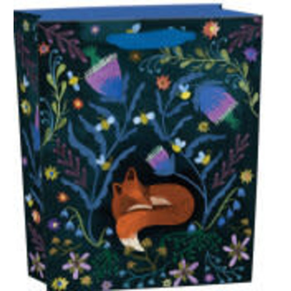 Bolso pequeño Night Fox con asas de cinta y etiqueta