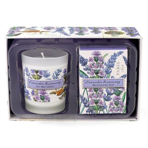 Michel Design Works Set de regalo de lavanda y romero con velas y jabón