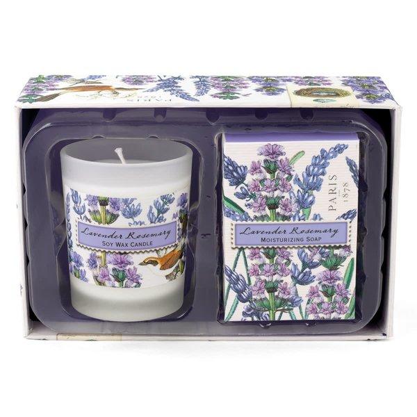 Lavendel und Rosmarin Kerze und Seife Geschenkset