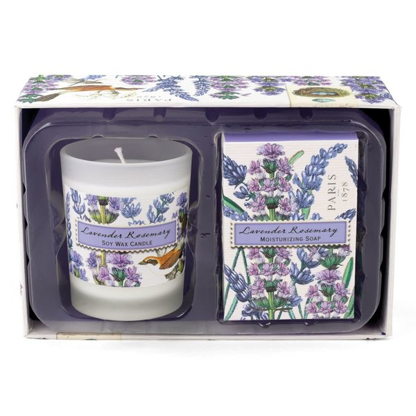 Lavender and Rosemary Candle and Soap Gift Set