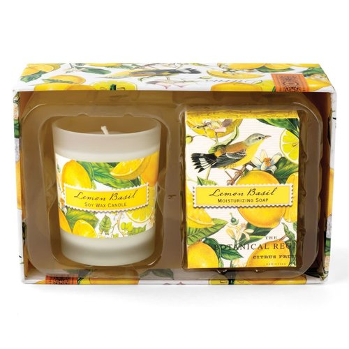 Michel Design Works Vela de albahaca limón y set de regalo de jabón