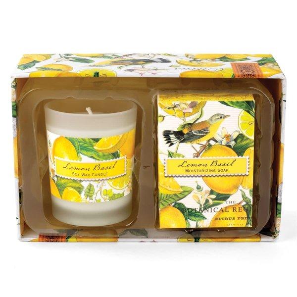 Vela de albahaca limón y set de regalo de jabón