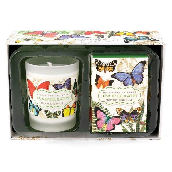 Vela de Papillon y set de regalo de jabón