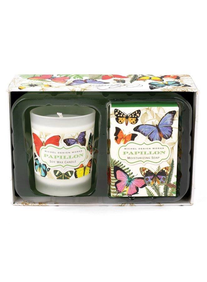 Papillon Kerzen- und Seifen-Geschenkset