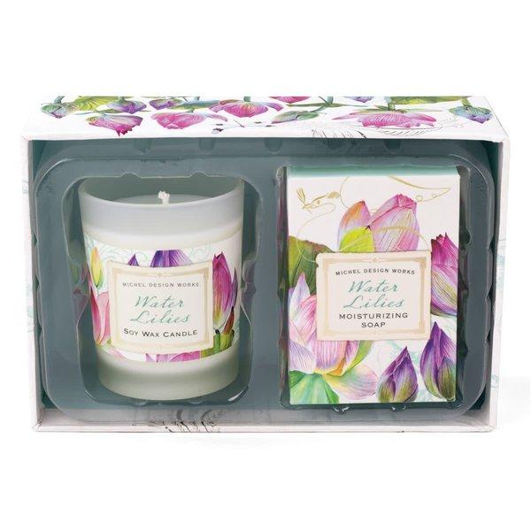 Seerosen Kerzen und Seife Geschenkset
