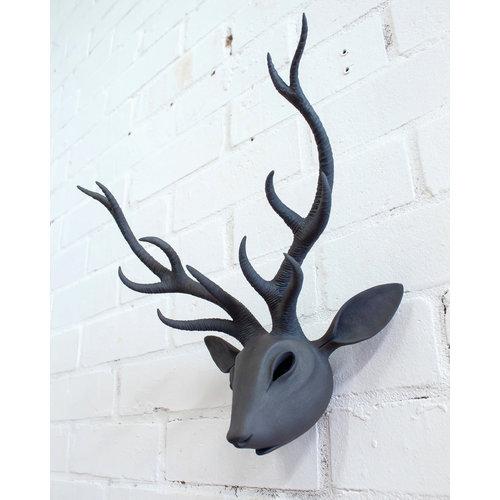 Drew Caines Cabeza de ciervo de pared de gres 06