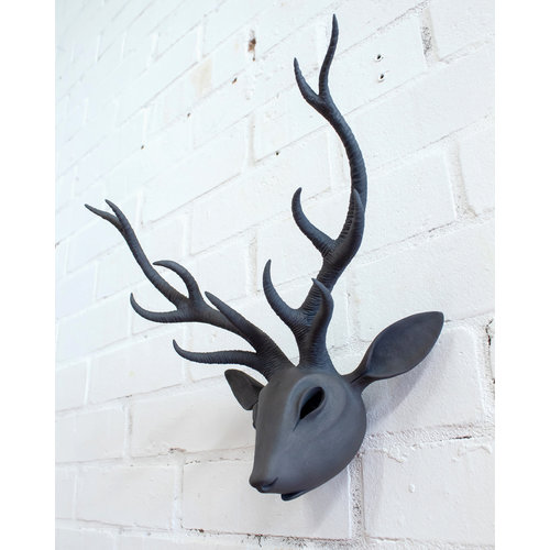 Drew Caines Stag Head wall mounted  stoneware 06