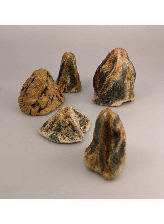 Rock Forms set of 5 stoneware  044