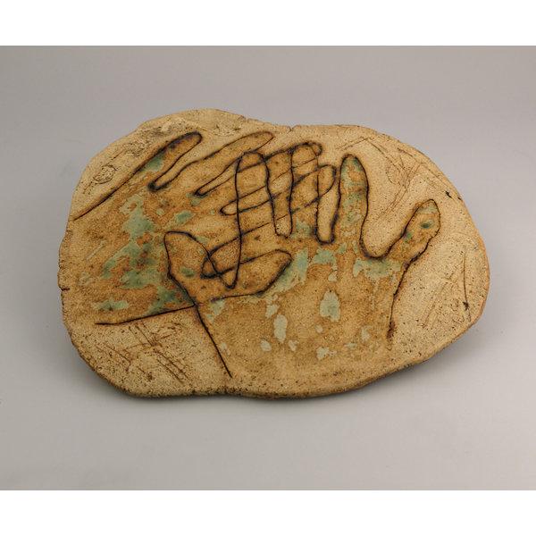 Hände zusammen Steinzeug Wandtafel 049