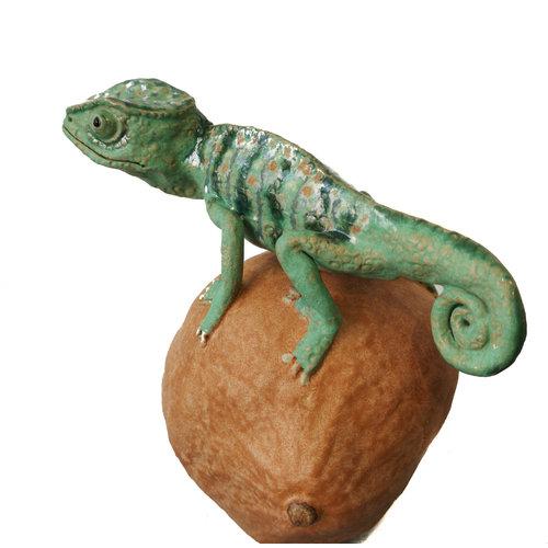 Su Hudson Cameleon on Squash - ceramic 07