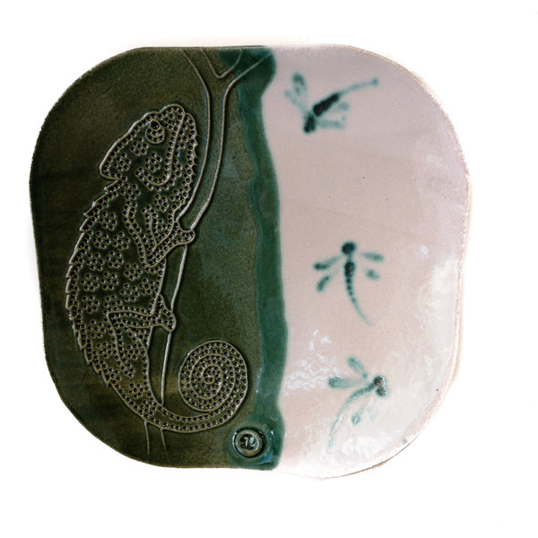 Placa chameleana sola grabada 21 - cerámica 09